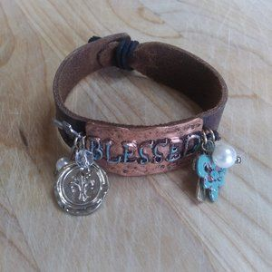 Blessed Embellished Leather Strap Bracelet | New